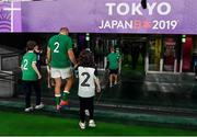 19 October 2019; Ireland captain Rory best leaves the pitch with his children Ben, Penny and Richie, having played his last game before retirement from rugby, after the 2019 Rugby World Cup Quarter-Final match between New Zealand and Ireland at the Tokyo Stadium in Chofu, Japan. Photo by Brendan Moran/Sportsfile