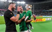 19 October 2019; Peter O'Mahony of Ireland and his daughter Indie with Kieran Read of New Zealand after the 2019 Rugby World Cup Quarter-Final match between New Zealand and Ireland at the Tokyo Stadium in Chofu, Japan. Photo by Brendan Moran/Sportsfile