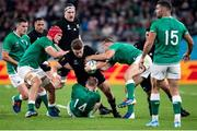 19 October 2019; Beauden Barrett of New Zealand is tackled by Keith Earls of Ireland during the 2019 Rugby World Cup Quarter-Final match between New Zealand and Ireland at the Tokyo Stadium in Chofu, Japan. Photo by Juan Gasparini/Sportsfile