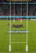 "19 October 2019; A general view of New Zealand performing the ""Haka"" prior to the 2019 Rugby World Cup Quarter-Final match between New Zealand and Ireland at the Tokyo Stadium in Chofu, Japan. Photo by Juan Gasparini/Sportsfile"