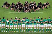 "19 October 2019; Ireland watch on as New Zealand perform the ""Haka"" prior to the 2019 Rugby World Cup Quarter-Final match between New Zealand and Ireland at the Tokyo Stadium in Chofu, Japan. Photo by Juan Gasparini/Sportsfile"