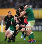 19 October 2019; Ardie Savea of New Zealand is tackled by Cian Healy, left, and Iain Henderson of Ireland during the 2019 Rugby World Cup Quarter-Final match between New Zealand and Ireland at the Tokyo Stadium in Chofu, Japan. Photo by Ramsey Cardy/Sportsfile