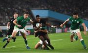 19 October 2019; Sevu Reece of New Zealand is tackled by Jordan Larmour of Ireland during the 2019 Rugby World Cup Quarter-Final match between New Zealand and Ireland at the Tokyo Stadium in Chofu, Japan. Photo by Ramsey Cardy/Sportsfile