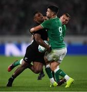 19 October 2019; Sevu Reece of New Zealand is tackled by Conor Murray of Ireland during the 2019 Rugby World Cup Quarter-Final match between New Zealand and Ireland at the Tokyo Stadium in Chofu, Japan. Photo by Ramsey Cardy/Sportsfile