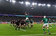 19 October 2019; James Ryan of Ireland wins a lineout during the 2019 Rugby World Cup Quarter-Final match between New Zealand and Ireland at the Tokyo Stadium in Chofu, Japan. Photo by Brendan Moran/Sportsfile