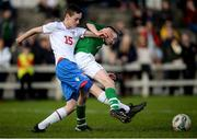 19 October 2019; Eanna Fitzgerald of Republic of Ireland in action against Ári Arnason of Faroe Islands during the Under-15 UEFA Development Tournament match between Republic of Ireland and Faroe Islands at Westport in Mayo. Photo by Harry Murphy/Sportsfile