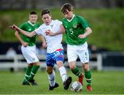 19 October 2019; Trisden Hughes of Republic of Ireland is tackled by Tobias Hansen of Faroe Islands during the Under-15 UEFA Development Tournament match between Republic of Ireland and Faroe Islands at Westport in Mayo. Photo by Harry Murphy/Sportsfile