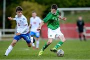 19 October 2019; Liam Murray of Republic of Ireland in action against Hans Pauli á Bø of Faroe Islands during the Under-15 UEFA Development Tournament match between Republic of Ireland and Faroe Islands at Westport in Mayo. Photo by Harry Murphy/Sportsfile
