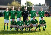 19 October 2019; Republic of Ireland players prior to the Under-15 UEFA Development Tournament match between Republic of Ireland and Faroe Islands at Westport in Mayo. Photo by Harry Murphy/Sportsfile