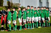 19 October 2019; Republic of Ireland players sing the national anthem prior to the Under-15 UEFA Development Tournament match between Republic of Ireland and Faroe Islands at Westport in Mayo. Photo by Harry Murphy/Sportsfile