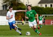 19 October 2019; Trisden Hughes of Republic of Ireland in action against Ári Arnason of Faroe Islands during the Under-15 UEFA Development Tournament match between Republic of Ireland and Faroe Islands at Westport in Mayo. Photo by Harry Murphy/Sportsfile
