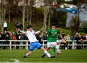 19 October 2019; Cian Barrett of Republic of Ireland in action against Hans Pauli á Bø of Faroe Islands during the Under-15 UEFA Development Tournament match between Republic of Ireland and Faroe Islands at Westport in Mayo. Photo by Harry Murphy/Sportsfile
