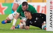 19 October 2019; Aaron Smith of New Zealand scores a try during the 2019 Rugby World Cup Quarter-Final match between New Zealand and Ireland at the Tokyo Stadium in Chofu, Japan. Photo by Juan Gasparini/Sportsfile