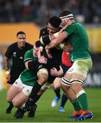 19 October 2019; Ardie Savea of New Zealand is tackled by Cian Healy and Iain Henderson of Ireland during the 2019 Rugby World Cup Quarter-Final match between New Zealand and Ireland at the Tokyo Stadium in Chofu, Japan. Photo by Ramsey Cardy/Sportsfile