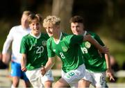 19 October 2019; Sam Curtis of Republic of Ireland celebrates after scoring his side's second goal during the Under-15 UEFA Development Tournament match between Republic of Ireland and Faroe Islands at Westport in Mayo. Photo by Harry Murphy/Sportsfile