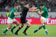 19 October 2019; Jacob Stockdale, right, and Jordan Larmour of Ireland in action against Beauden Barrett of New Zealand during the 2019 Rugby World Cup Quarter-Final match between New Zealand and Ireland at the Tokyo Stadium in Chofu, Japan. Photo by Juan Gasparini/Sportsfile