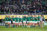 19 October 2019; The Ireland team applaud the supporters after the 2019 Rugby World Cup Quarter-Final match between New Zealand and Ireland at the Tokyo Stadium in Chofu, Japan. Photo by Juan Gasparini/Sportsfile