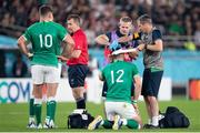 19 October 2019; Robbie Henshaw of Ireland receives medical attention during the 2019 Rugby World Cup Quarter-Final match between New Zealand and Ireland at the Tokyo Stadium in Chofu, Japan. Photo by Juan Gasparini/Sportsfile