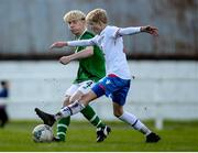 19 October 2019; Finn Cowper Gray of Republic of Ireland in action against Hjalmar Gudmundsen of Faroe Islands during the Under-15 UEFA Development Tournament match between Republic of Ireland and Faroe Islands at Westport in Mayo. Photo by Harry Murphy/Sportsfile