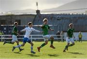 19 October 2019; Sam Curtis of Republic of Ireland in action against Suni Herman J Petersen of Faroe Islands during the Under-15 UEFA Development Tournament match between Republic of Ireland and Faroe Islands at Westport in Mayo. Photo by Harry Murphy/Sportsfile