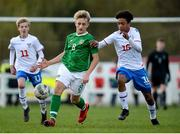 19 October 2019; Sam Curtis of Republic of Ireland in action against Thomas Bjørn S. Miezan of Faroe Islands during the Under-15 UEFA Development Tournament match between Republic of Ireland and Faroe Islands at Westport in Mayo. Photo by Harry Murphy/Sportsfile
