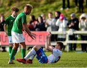 19 October 2019; Caden McLoughlin of Republic of Ireland helps up Nóa Eyðsteinsson of Faroe Islands following the Under-15 UEFA Development Tournament match between Republic of Ireland and Faroe Islands at Westport in Mayo. Photo by Harry Murphy/Sportsfile