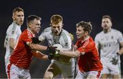 19 October 2019; David McBrien of Ballaghaderreen in action against Alan Plunkett and Noel Geraghty of Ballintubber during the Mayo County Senior Club Football Championship Final match between Ballaghaderreen and Ballintubber at Elvery's MacHale Park in Castlebar, Mayo. Photo by Harry Murphy/Sportsfile