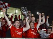 19 October 2019; Damien Coleman and Alan Dillon of Ballintubber lift the trophy following the Mayo County Senior Club Football Championship Final match between Ballaghaderreen and Ballintubber at Elvery's MacHale Park in Castlebar, Mayo. Photo by Harry Murphy/Sportsfile
