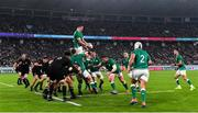 19 October 2019; James Ryan of Ireland wins a lineout from during the 2019 Rugby World Cup Quarter-Final match between New Zealand and Ireland at the Tokyo Stadium in Chofu, Japan. Photo by Brendan Moran/Sportsfile