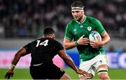 19 October 2019; Iain Henderson of Ireland in action against Sevu Reece of New Zealand during the 2019 Rugby World Cup Quarter-Final match between New Zealand and Ireland at the Tokyo Stadium in Chofu, Japan. Photo by Brendan Moran/Sportsfile