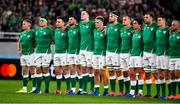 19 October 2019; Ireland players, from left, Keith Earls, CJ Stander, Niall Scannell, Robbie Henshaw, James Ryan, Josh van der Flier, Iain Henderson, Rhys Ruddock, Joey Carbery, Tadhg Beirne, Jonathan Sexton and Rory Best face the New Zealand team as they perform the Haka prior to the 2019 Rugby World Cup Quarter-Final match between New Zealand and Ireland at the Tokyo Stadium in Chofu, Japan. Photo by Brendan Moran/Sportsfile