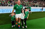 19 October 2019; Ireland captain Rory Best with his children Richie, Penny and Ben after the 2019 Rugby World Cup Quarter-Final match between New Zealand and Ireland at the Tokyo Stadium in Chofu, Japan. Photo by Brendan Moran/Sportsfile