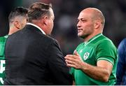 19 October 2019; Rory Best of Ireland with New Zealand head coach Steve Hansen after the 2019 Rugby World Cup Quarter-Final match between New Zealand and Ireland at the Tokyo Stadium in Chofu, Japan. Photo by Brendan Moran/Sportsfile