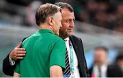 19 October 2019; New Zealand assistant coach Ian Foster, right, with Ireland head coach Joe Schmidt after the 2019 Rugby World Cup Quarter-Final match between New Zealand and Ireland at the Tokyo Stadium in Chofu, Japan. Photo by Brendan Moran/Sportsfile