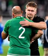 19 October 2019; Rory Best of Ireland with Jack Goodhue of New Zealand after the 2019 Rugby World Cup Quarter-Final match between New Zealand and Ireland at the Tokyo Stadium in Chofu, Japan. Photo by Brendan Moran/Sportsfile