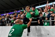 19 October 2019; Ireland captain Rory Best with his son Richie after the 2019 Rugby World Cup Quarter-Final match between New Zealand and Ireland at the Tokyo Stadium in Chofu, Japan. Photo by Brendan Moran/Sportsfile