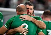 19 October 2019; Rory Best of Ireland is embraced by team-mate Rob Kearney after the 2019 Rugby World Cup Quarter-Final match between New Zealand and Ireland at the Tokyo Stadium in Chofu, Japan. Photo by Brendan Moran/Sportsfile