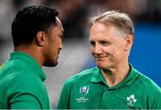 19 October 2019; Ireland head coach Joe Schmidt, right, with Bundee Aki after the 2019 Rugby World Cup Quarter-Final match between New Zealand and Ireland at the Tokyo Stadium in Chofu, Japan. Photo by Brendan Moran/Sportsfile