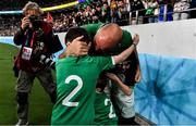 19 October 2019; Ireland captain Rory Best hugs his children Richie, Penny and Ben after the 2019 Rugby World Cup Quarter-Final match between New Zealand and Ireland at the Tokyo Stadium in Chofu, Japan. Photo by Brendan Moran/Sportsfile