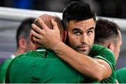 19 October 2019; Rory Best of Ireland is embraced by team-mate Conor Murray after the 2019 Rugby World Cup Quarter-Final match between New Zealand and Ireland at the Tokyo Stadium in Chofu, Japan. Photo by Brendan Moran/Sportsfile