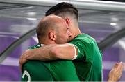 19 October 2019; Rory Best of Ireland is embraced by team-mate Jonathan Sexton after the 2019 Rugby World Cup Quarter-Final match between New Zealand and Ireland at the Tokyo Stadium in Chofu, Japan. Photo by Brendan Moran/Sportsfile