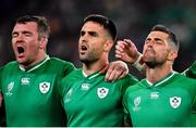 19 October 2019; An emotional Rob Kearney of Ireland, right, alongside team-mates Peter O'Mahony, left, and Conor Murray during the Ireland's Call prior to the 2019 Rugby World Cup Quarter-Final match between New Zealand and Ireland at the Tokyo Stadium in Chofu, Japan. Photo by Brendan Moran/Sportsfile