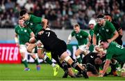 19 October 2019; Conor Murray of Ireland is tackled by Sam Cane of New Zealand during the 2019 Rugby World Cup Quarter-Final match between New Zealand and Ireland at the Tokyo Stadium in Chofu, Japan. Photo by Brendan Moran/Sportsfile