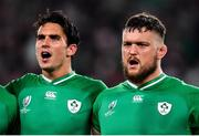 19 October 2019; An emotional Andrew Porter of Ireland, right, alongside team-mate Joey Carbery during Ireland's Call prior to the 2019 Rugby World Cup Quarter-Final match between New Zealand and Ireland at the Tokyo Stadium in Chofu, Japan. Photo by Brendan Moran/Sportsfile
