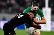 19 October 2019; Iain Henderson of Ireland is tackled by Sevu Reece of New Zealand during the 2019 Rugby World Cup Quarter-Final match between New Zealand and Ireland at the Tokyo Stadium in Chofu, Japan. Photo by Brendan Moran/Sportsfile