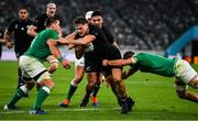 19 October 2019; George Bridge of New Zealand is tackled by CJ Stander, left, and Josh Van der Flier of Ireland during the 2019 Rugby World Cup Quarter-Final match between New Zealand and Ireland at the Tokyo Stadium in Chofu, Japan. Photo by Brendan Moran/Sportsfile