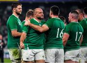 19 October 2019; Ireland captain Rory Best with team-mate Niall Scannell after the 2019 Rugby World Cup Quarter-Final match between New Zealand and Ireland at the Tokyo Stadium in Chofu, Japan. Photo by Brendan Moran/Sportsfile