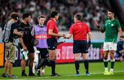 19 October 2019; Conor Murray of Ireland remonstrates with referee Nigel Owens and touch judge Pascal Gauzere during the 2019 Rugby World Cup Quarter-Final match between New Zealand and Ireland at the Tokyo Stadium in Chofu, Japan. Photo by Ramsey Cardy/Sportsfile