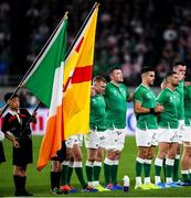 19 October 2019; Ireland players, from left, Keith Earls, Peter O'Mahony, Conor Murray, Rob Kearney and James Ryan line up for the National Anthem ahead of the 2019 Rugby World Cup Quarter-Final match between New Zealand and Ireland at the Tokyo Stadium in Chofu, Japan. Photo by Ramsey Cardy/Sportsfile