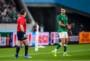 19 October 2019; Conor Murray of Ireland remonstrates with referee Nigel Owens during the 2019 Rugby World Cup Quarter-Final match between New Zealand and Ireland at the Tokyo Stadium in Chofu, Japan. Photo by Ramsey Cardy/Sportsfile